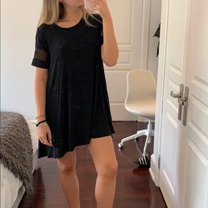 Dresses & Skirts - Black t shirt dress with mesh sleeves!